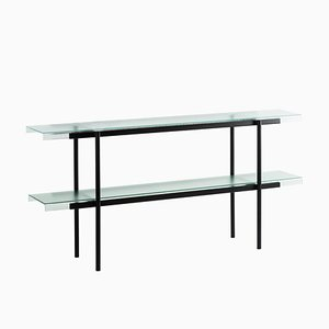 Passerelle 160 Shelf 9700S-02 in Glass & Black Steel by Sebastian Herkner for Pulpo