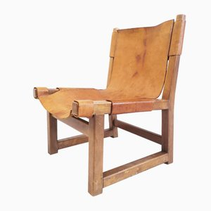Spanish Walnut and Leather Model Riaza Childrens Chair by Paco Muñoz for Darro, 1950s