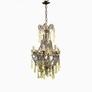 Light Green Opaline Crystal Beaded Chandelier, 1940s