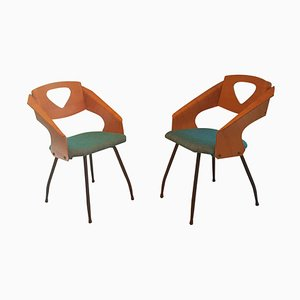 Italian Bentwood Armchairs by Carlo Ratti for Legni Curvi, 1950s, Set of 2
