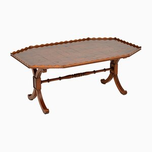 Vintage Yew Wood Oyster Veneer Coffee Table