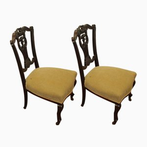 Green Upholstery & Mahogany Nursing Chairs, 1920s, Set of 2
