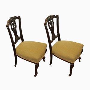 Sessel mit Grünem Bezug & Mahagoni, 1920er, 2er Set