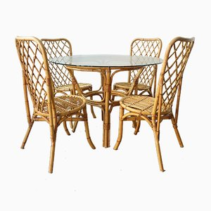 Mid-Century Bamboo Dining Table & Chairs Set, 1960s, Set of 5