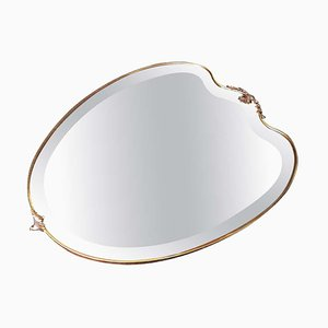 Italian Shield-Shaped Brass Wall Mirror by Gio Ponti, 1950s