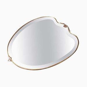 Specchio da parete a forma di scudo in ottone di Gio Ponti, Italia, anni '50