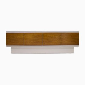 Large White Walnut Veneer Sideboard, 1970s