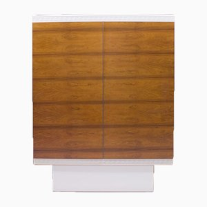 White Highboard with Walnut Veneer Doors, 1960s