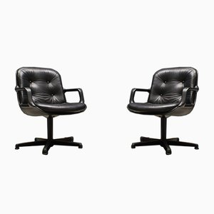 Leather Desk Chairs by Charles Pollock for Comforto, 1960s, Set of 2