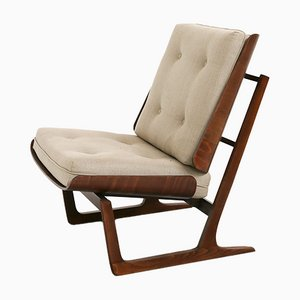 Mid-Century Teak and Fabric Lounge Chairs, 1950s, Set of 2