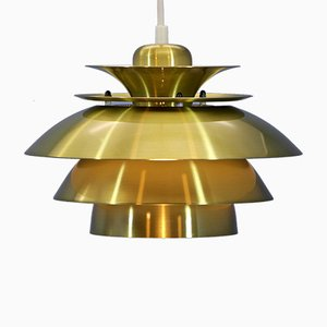Danish Brass Ceiling Lamp, 1970s