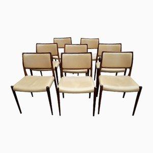 Modell 80 Esszimmerstühle aus Palisander & Leder von Niels Otto Møller für JL Møllers, 1960er, 8er Set