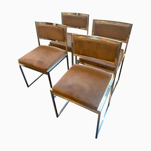 Vintage Brass and Chrome Dining Chairs by Willy Rizzo, 1970s, Set of 4