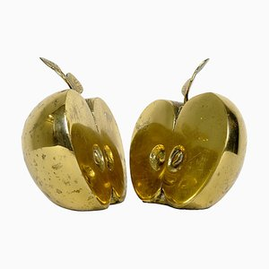 Hollywood Regency Brass Apple Halves Bookends from Apko, Set of 2