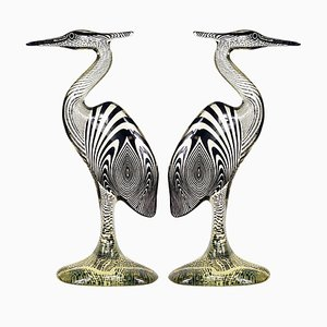Large Mid-Century Lucite Herons by Abraham Palatnik, Set of 2