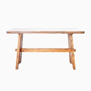 Vintage Swedish Flamed Pine Dining Table by Göran Malmvall