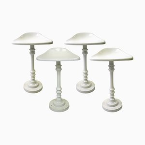 Vintage White Metal Saddle-Shaped Bar Stools, Set of 4