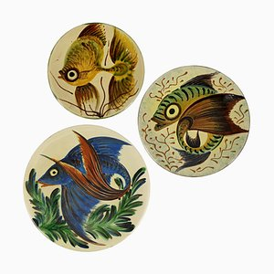 Mid-Century Spanish Ceramic Wall Plates with Fish Decor from Puigdemont, Set of 3