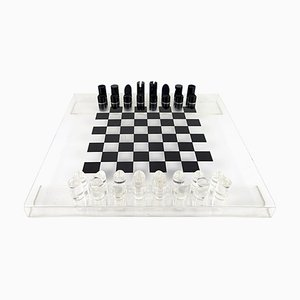 Postmodern Black and White Lucite Chess Set