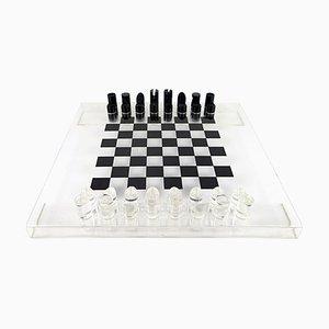 Postmodern Black and White Lucite Chess Set