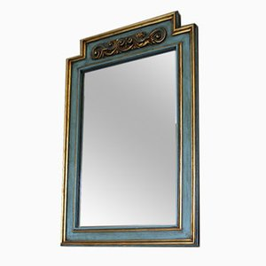 Mid-Century Italian Wooden Mirror with Gold Decor, 1950s