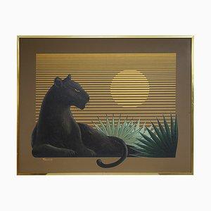 Gemälde eines Schwarzen Panthers bei Sonnenuntergang von Franco für Artmeister Studio
