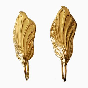 Brass Leaf Wall Lights or Sconces by Carlo Giorgi for Bottega Gadda, Milano, Italy, 1980s, Set of 2
