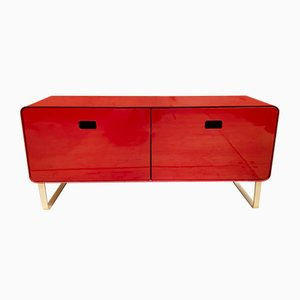 Red Lacquered Metal Sideboard from Müller Möbelfabrikation, 1990s