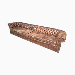 Braunes Vintage 6-Sitzer Sofa im Chesterfield Stil, 1970er