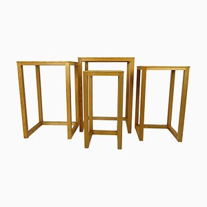 Mid-Century Oak Nesting Tables or Plant Stands, Set of 4