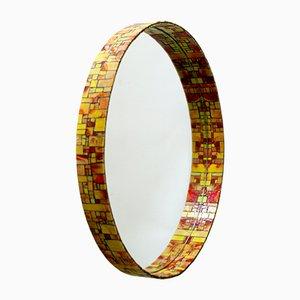 Mid-Century Modern Mosaic Framed Circular Wall Mirror, Italy, 1960s