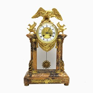 19th Century Portico II Empire Gilt Bronze and Marble Pendulum Clock