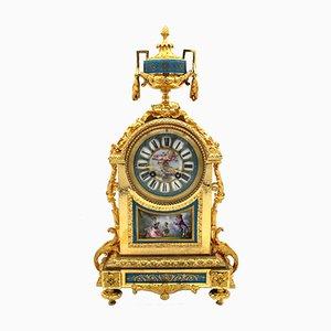 19th Century Napoleon II Gilt Bronze and Painted Sevres Porcelain Pendulum Clock