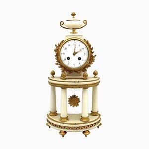 19th Century Portico Napoleon II Gilt Bronze and Marble Pendulum Clock