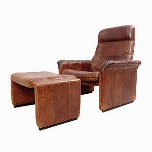 Swiss Buffalo Leather Model DS-50 Armchair and Ottoman Set from de Sede, 1970s