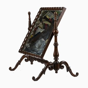 Antique Italian Walnut Dressing Table Mirror, 1850s
