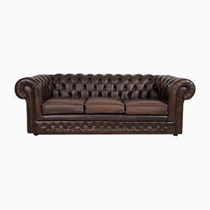 Vintage British Brown Leather Chesterfield Sofa from Thomas Lloyd, 1970s
