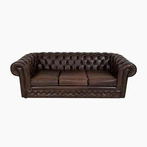 Vintage British Brown Leather Chesterfield Sofa, 1970s