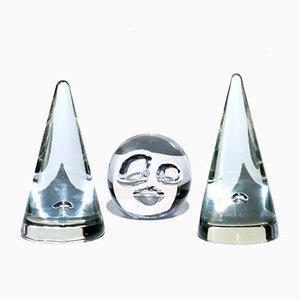 Pisapapeles italianos vintage de cristal de Murano de Barbini. Juego de 3