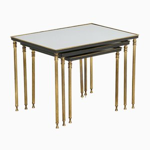Mirrored Top Brass Nesting Tables, 1960s