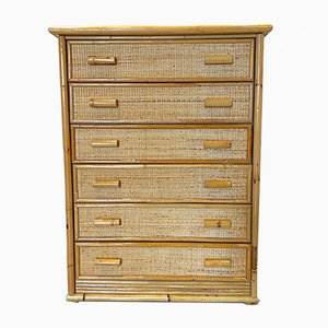 Vintage Wicker and Bamboo Chest of Drawers, 1970s