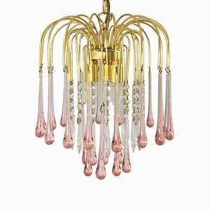 Vintage Murano Glass Teardrop Waterfall Ceiling Lamp