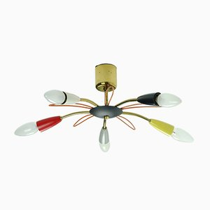 Mid-Century Brass and Colored Plastic Sputnik Ceiling Lamp, 1950s