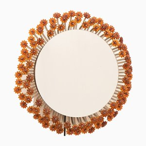 Backlit Flower Mirror with Amber Glass by Emile Stenjar for Rupert Nikoll, 1950s