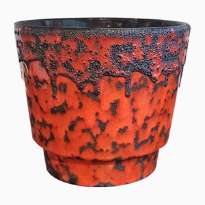 Red and Black Fat Lava Cachepot from Fohr Keramik, 1970s