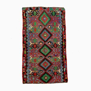 Large Vintage Turkish Purple, Red, Black & Blue Wool Kilim Rug, 1960s
