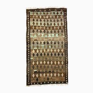 Large Vintage Turkish Brown, Beige & Blue Tribal Kilim Rug, 1960s