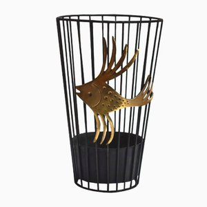 Black Steel Wire and Brass Umbrella Stand by Walter Bosse, 1950s