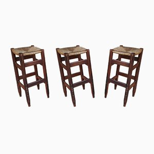 Mid-Century Straw Stools, 1950s, Set of 3