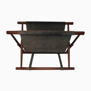 Danish Leather and Teak Newspaper Rack, 1960s